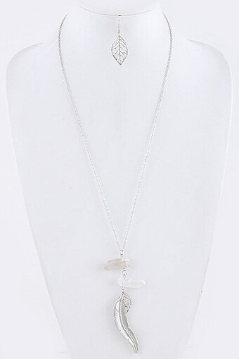 Feather Pendant Semi Precious Stone Necklace Set - Silver