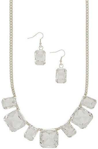 Beautiful Clear Faceted Jewel Necklace Set - Silver