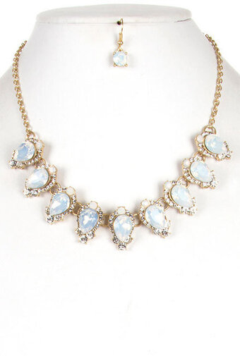 Pave Edge Faceted Teardrop Necklace Set - White