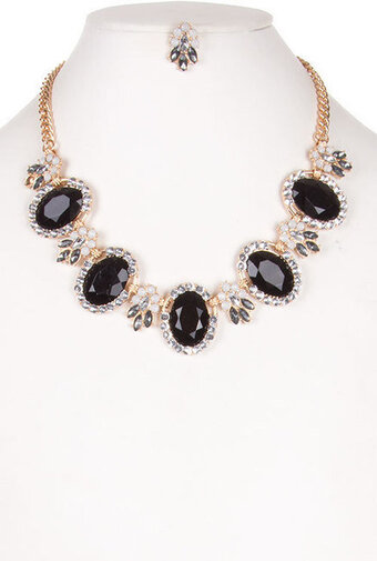 Pave Edged Faceted Oval Jewel Necklace Set - Black