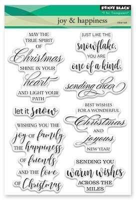 christmas themed penny black clear stamps featuring may the true spirit of christmas shine in your heart let it snow sending you warm wishes