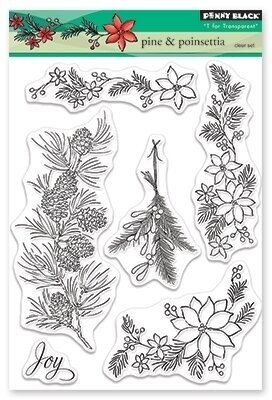 Pine and Poinsettia - Christmas Clear Stamp