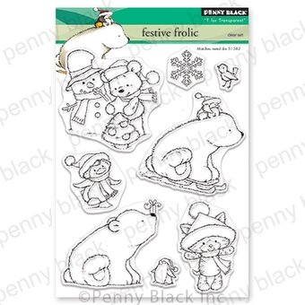 Festive Frolic - Christmas Penny Black Clear Stamp