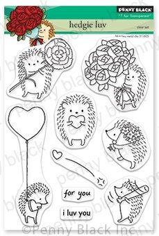 Hedgie Luv - Valentines Penny Black Clear Stamp