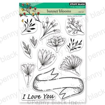 Banner Blooms - Valentines Penny Black Clear Stamp