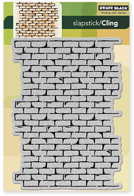 penny black brick wall background slapstick cling rubber stamp
