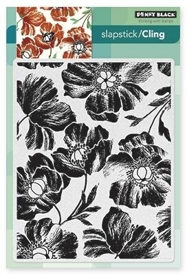 Poppy Pattern Background - Slapstick Cling Rubber Stamp