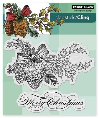 Winter Pine - Christmas Slapstick Cling Rubber Stamp