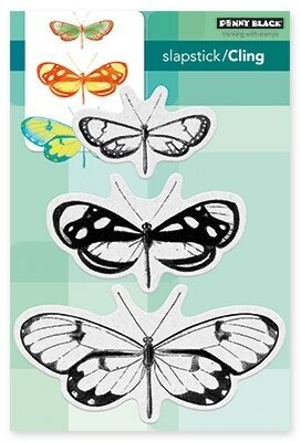 Butterfly Trio - Slapstick Cling Rubber Stamp