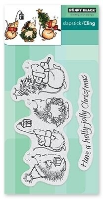 Holly Jolly Critters - Christmas Cling Rubber Stamp