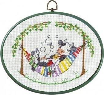 Cow in Hammock - Cross Stitch Kit