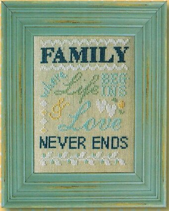 Family Never Ends Linen - Cross Stitch Kit