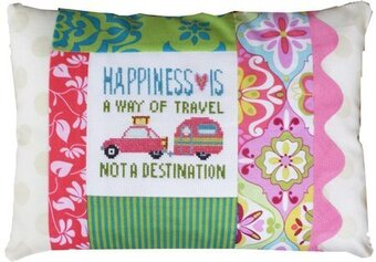Happiness is a Way Of Travel Pillow - Cross Stitch Kit
