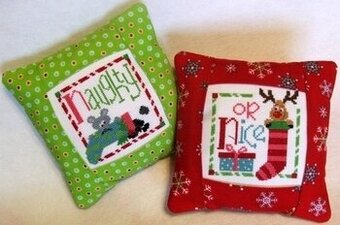 Naughty or Nice Pillow - Cross Stitch Kit