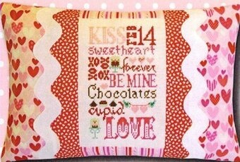 Valentine Typography Pillow - Cross Stitch Kit