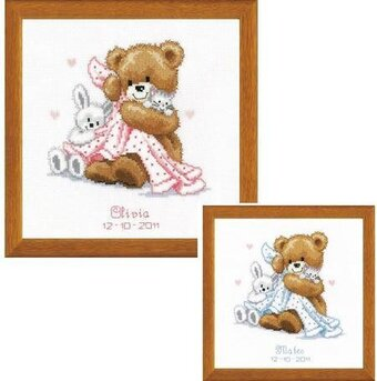 Bear With Blanket Birth Record - Cross Stitch Kit