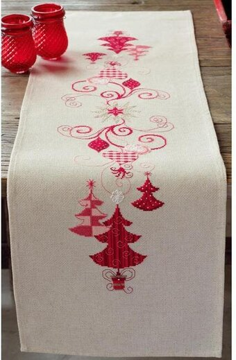 Red Christmas Decorations Table Runner Stamped Cross Stitch