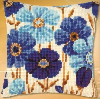 Blue Anemones - Needlepoint Kit