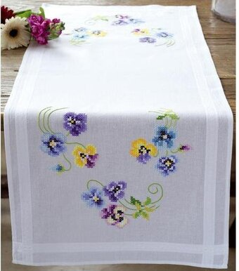 Pretty Pansies Table Runner Stamped Cross Stitch Kit