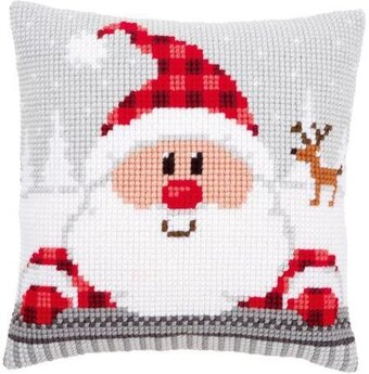 Santa In A Plaid Hat Cushion - Christmas Needlepoint Kit