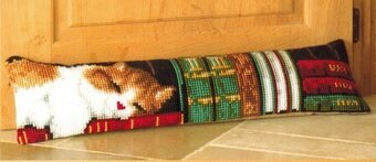Cat Sleeping on Bookshelf  -  Needlepoint Kit