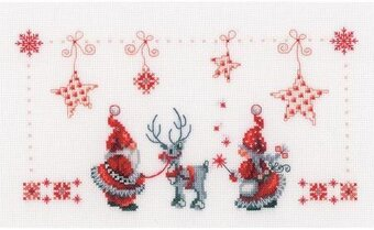 Christmas Elves On Aida - Cross Stitch Kit