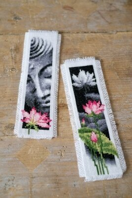 Lotus & Buddha Bookmarks (set of 2) - Cross Stitch Kit
