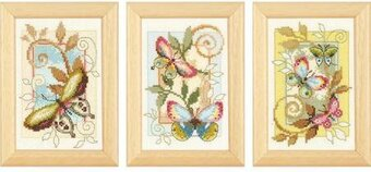 Deco Butterflies (set of 3) - Cross Stitch Kit