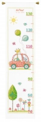 Road Trip with Giraffe & Bear Height Chart Cross Stitch Kit