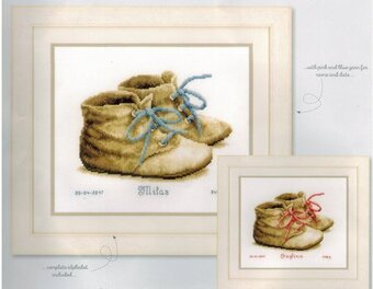 Baby Shoes Birth Announcement - Cross Stitch Kit