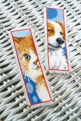Cat & Dog Bookmarks - Set of 2 - Cross Stitch Kit