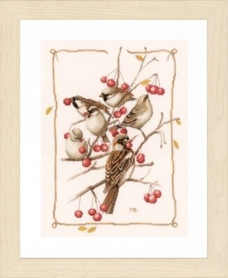 Sparrow with Red Berries - Cross Stitch Kit