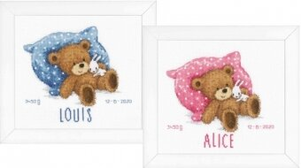 Sweet Bear Birth Sampler - Cross Stitch Kit
