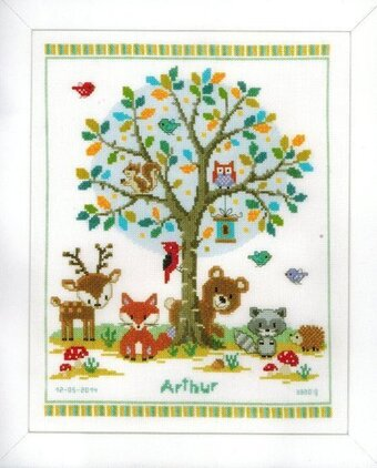 Vervaco In The Woods Birth Record Cross Stitch Kit