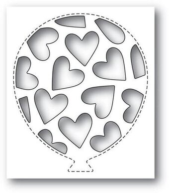 Tumbled Heart Balloon Collage - Poppystamps Craft Die