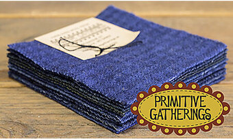 "Primitive Gatherings Wool 5"" Charm Pack Navy"