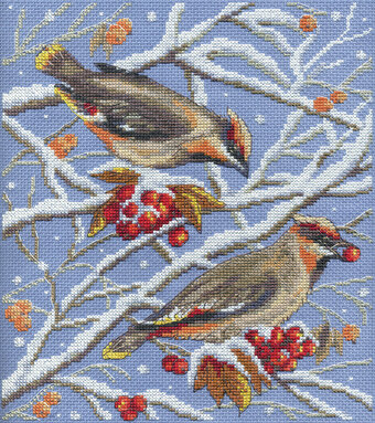 Waxwings - Cross Stitch Kit