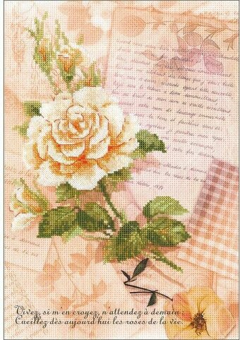 Love Letters Rose Flower - Cross Stitch Kit