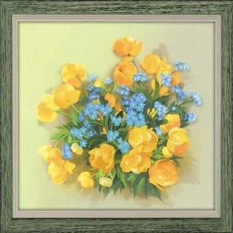 Globe Flowers - Pre-Printed Cross Stitch Kit