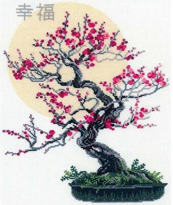Bonsai Of Sakura Wish Well - Cross Stitch Kit