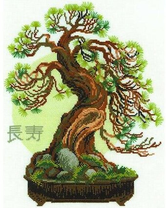 Bonsai Pine Wish Of Longevity - Cross Stitch Kit
