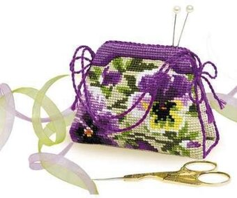 Pansy Pincushion - Cross Stitch Kit
