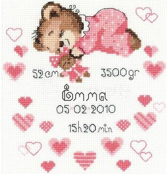 riolis girls birth announcement cross stitch kit 123stitch com