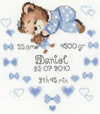 Boys Birth Announcement - Cross Stitch Kit