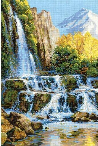 Landscape With Waterfall - Cross Stitch Kit