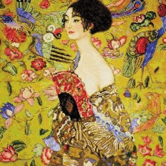 Lady With A Fan - G. Klimt's Painting - Cross Stitch Kit