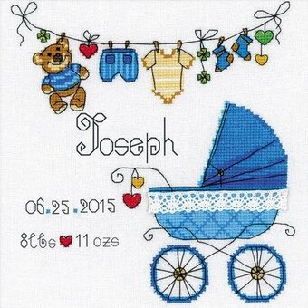 DIMENSIONS BABY ON BOARD BUS BIRTH SAMPLER RECORD COUNTED CROSS STITCH KIT