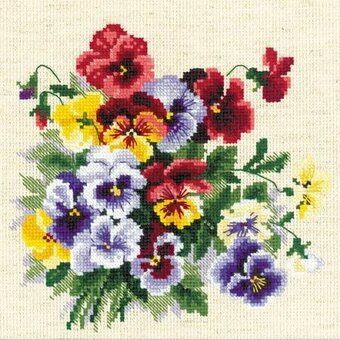 Pansy Medley - Cross Stitch Kit