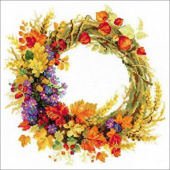 Wreath With Wheat - Cross Stitch Kit