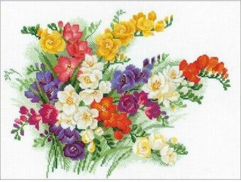 Freesia Flowers - Cross Stitch Kit